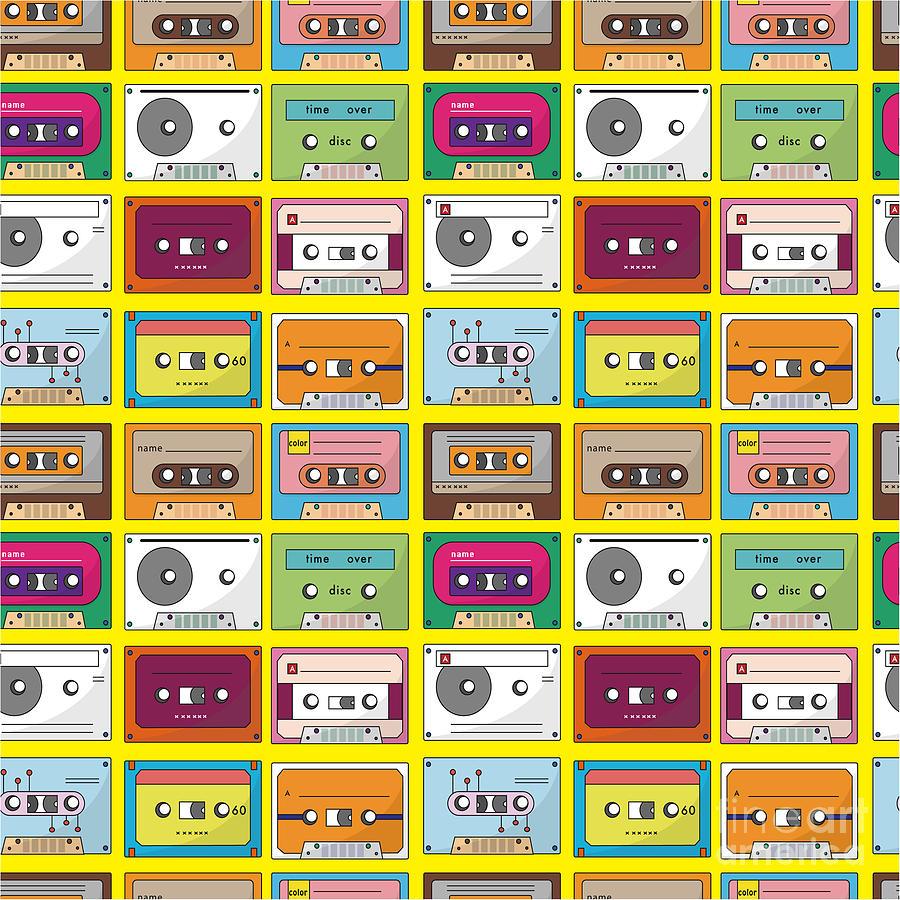 Play Digital Art - Music Tape Seamless Pattern by Notkoo