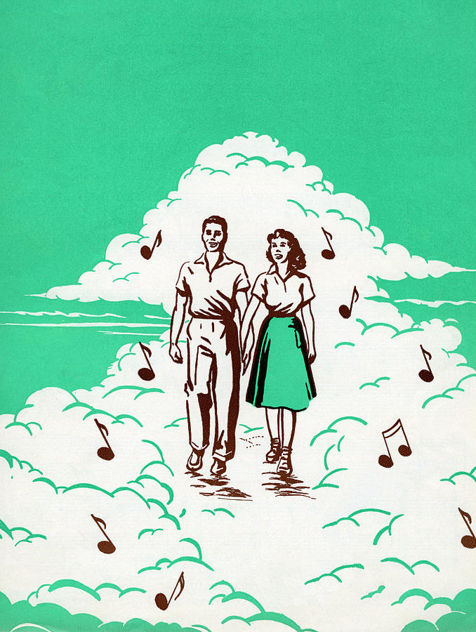 Musical Couple In The Clouds Digital Art by Graphicaartis