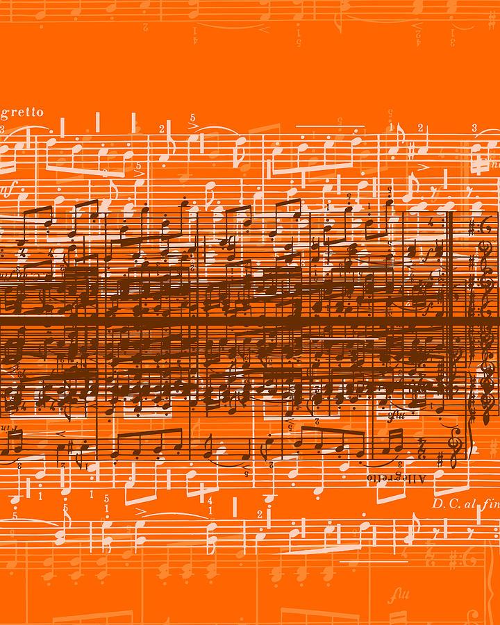 Musical Notes Over Orange Background Digital Art by Stockbyte