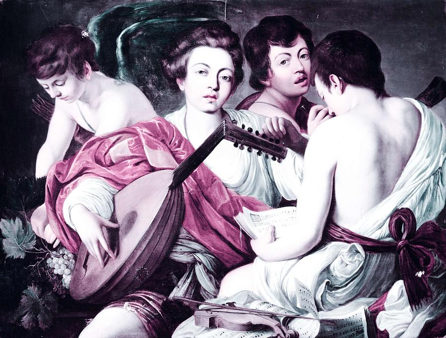 Girl Painting - Musicians By Caravaggio 2 -  Infrared Version by Celestial Images