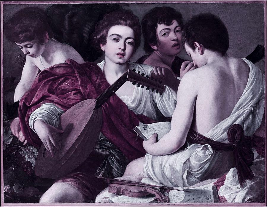 Girl Painting - Musicians By Caravaggio -  Infrared Version by Celestial Images