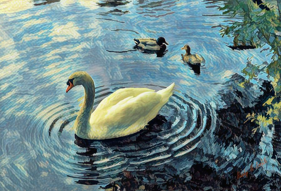 Mute swan and mallard ducks. by Rusty R Smith
