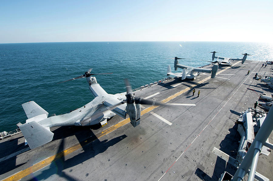 No People Photograph - Mv-22b Ospreys Refuel On The Flight by Stocktrek Images