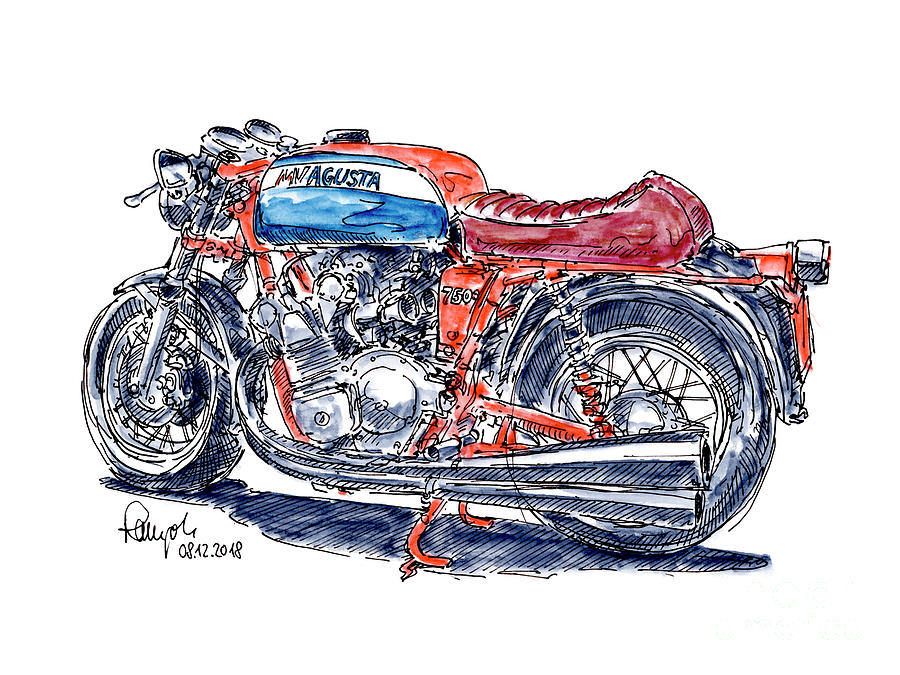 Motorbike Drawing - MV Agusta 750 S Classic Motorcycle Ink Drawing and Watercolor by Frank Ramspott