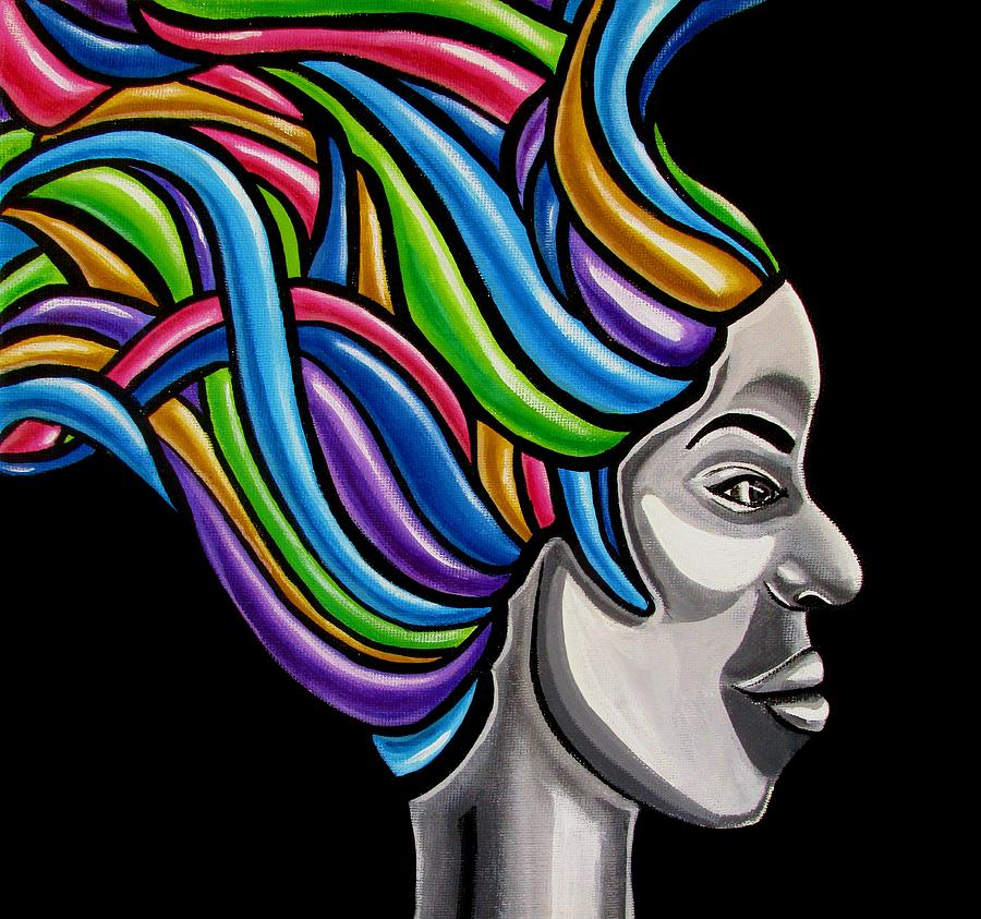 Colorful Abstract Black Woman Face Hair Painting Artwork - African Goddess by Ai P Nilson