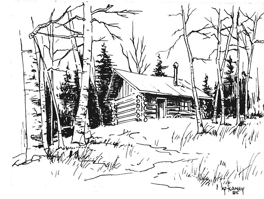 Cabin Drawing - My Cabin In The Woods by Kevin Heaney
