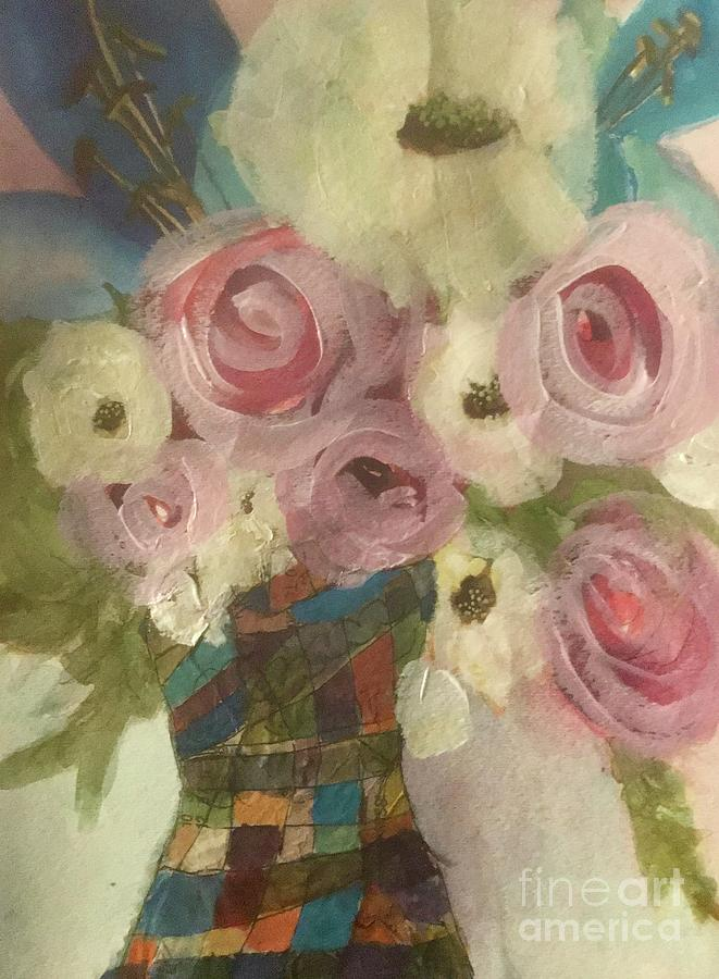 Vintage  Pink Roses by Sherry Harradence