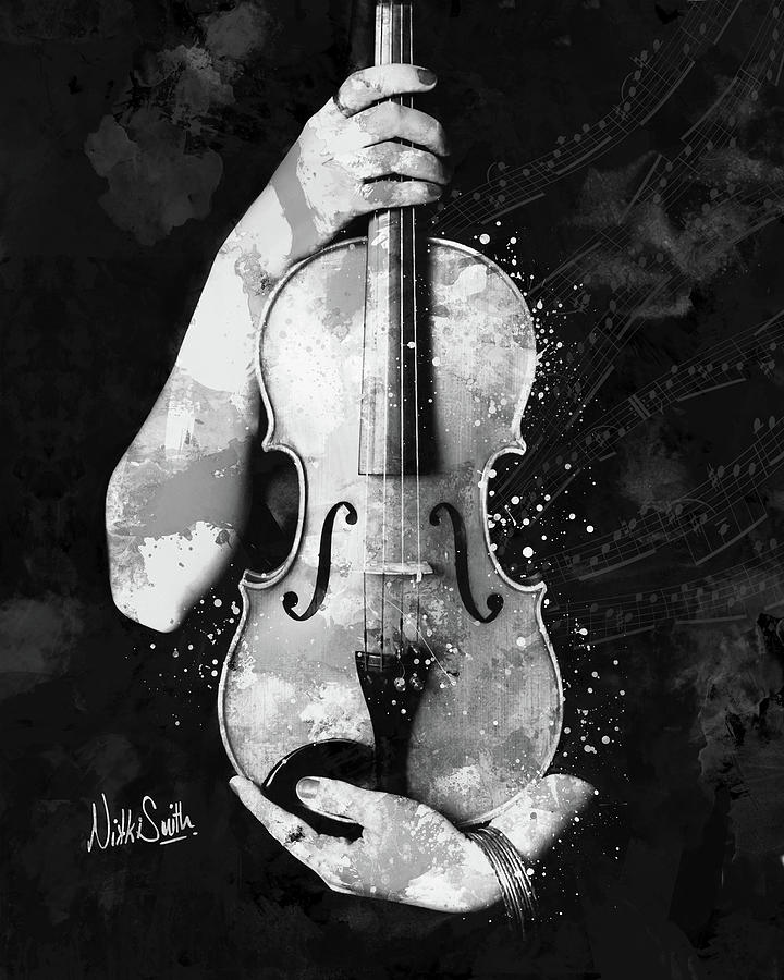 My Violin Whispers Music in the Night in Black and White by Nikki Marie Smith