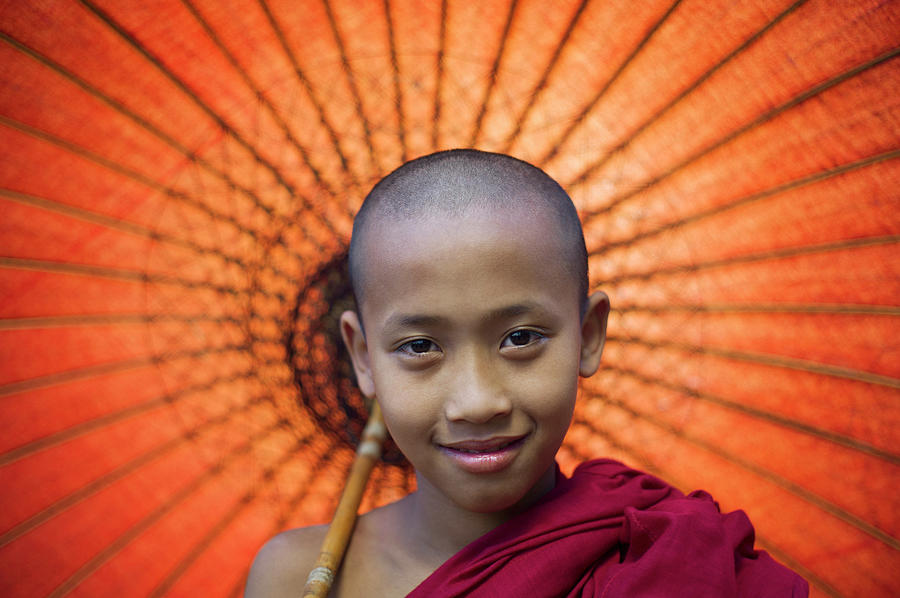 Myanmar, Bagan, Buddhist Young Monk Photograph by Martin Puddy