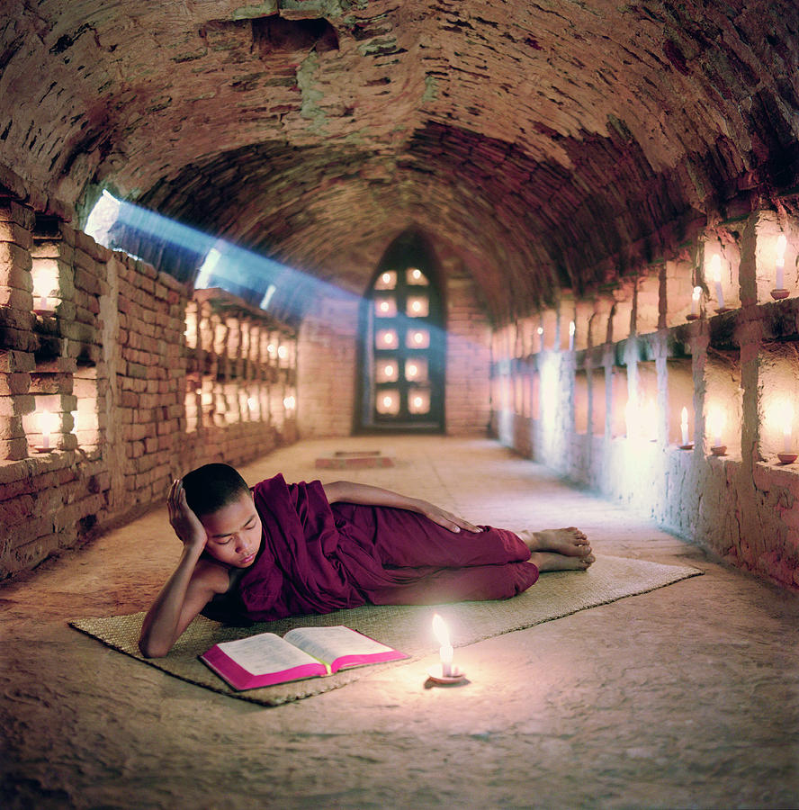 Myanmar, Buddhist Monk Inside Photograph by Martin Puddy