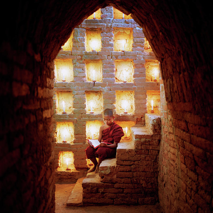 Myanmar, Buddhist Monk Inside Temple Photograph by Martin Puddy
