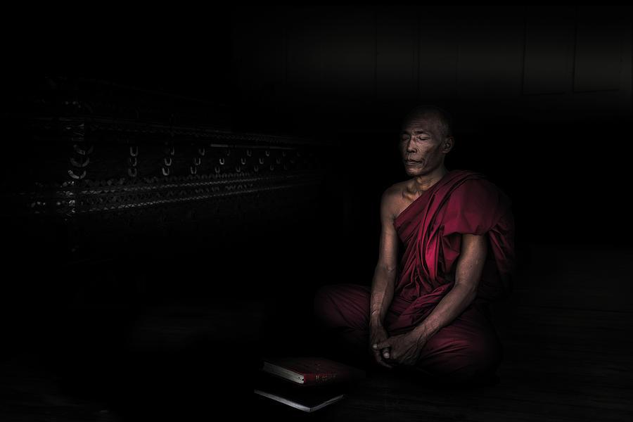 Myanmar Photograph - Myanmar - Meditation by Michael Jurek