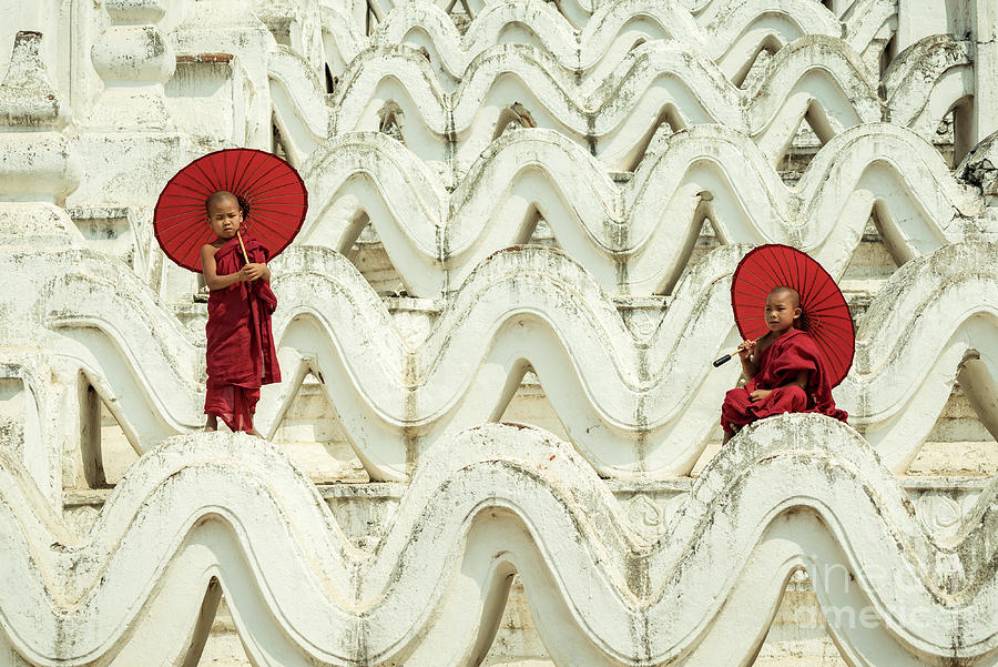 Myanmar Novice Monks Are Playing Photograph by Sutiporn Somnam