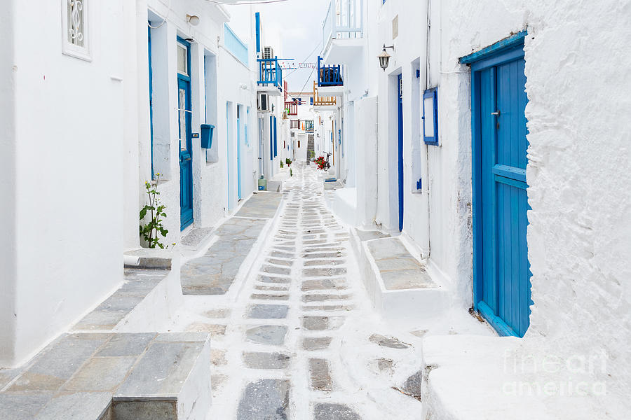 City Photograph - Mykonos Streetview Greece by Zgphotography