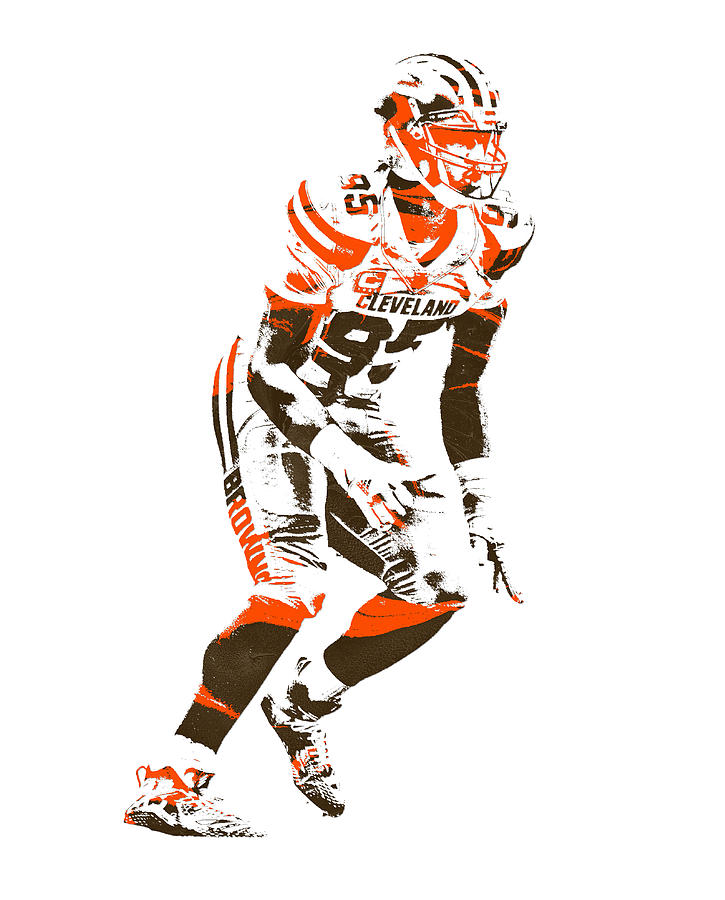 Browns Mixed Media - Myles Garrett Cleveland Browns Pixel Art 2 by Joe Hamilton