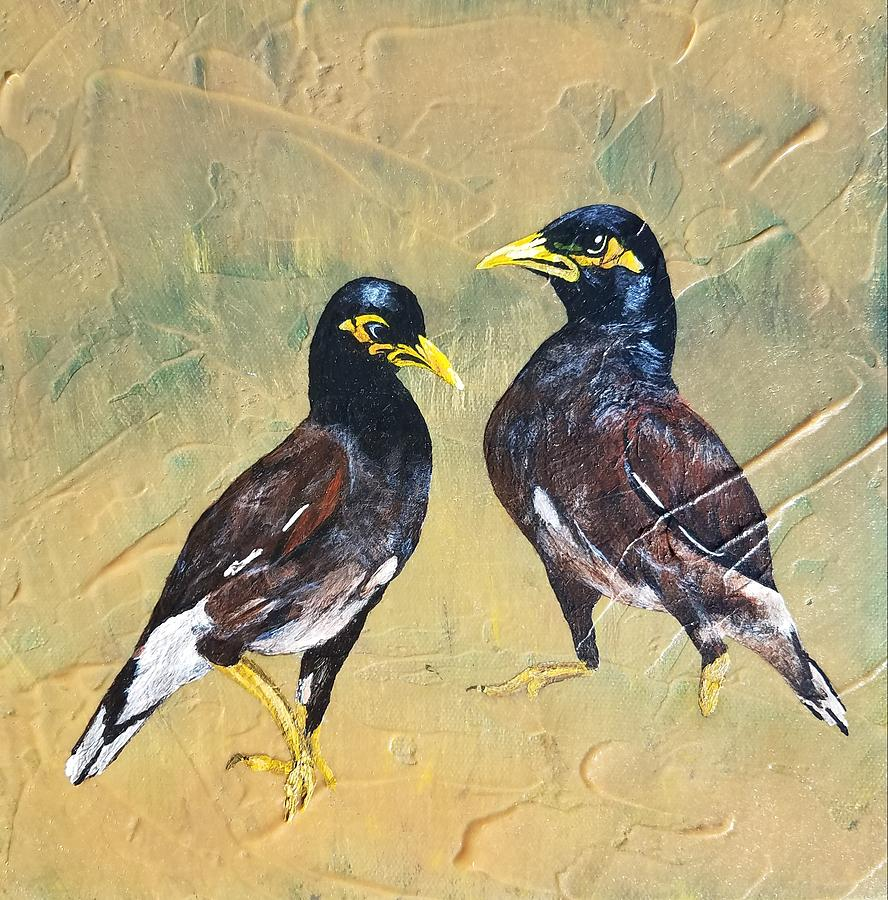 Kona Painting - Mynas by Carly Creley