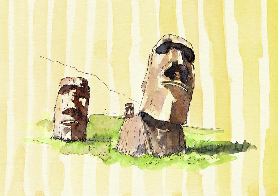 Moai Mixed Media - Mysteries Of The Moai I by Amanda Lakey