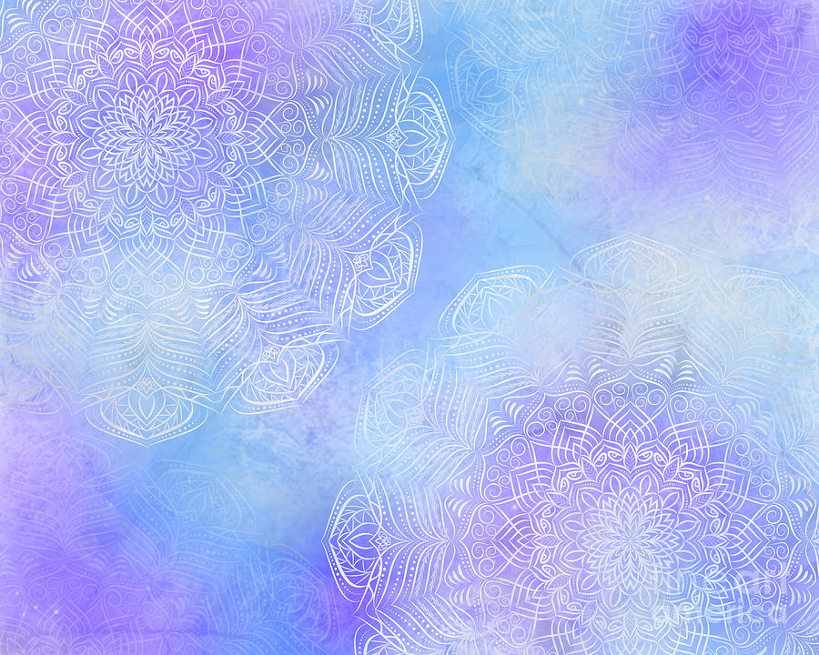 Mystic Abstract Mandala Background With Blue Purple Color