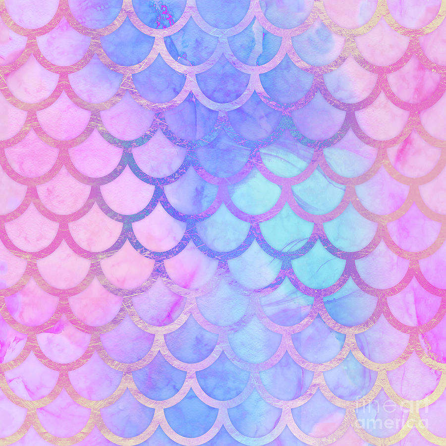 Mystical Mermaid II Colorful Mermaid Tail Scales Pattern by Tina Lavoie