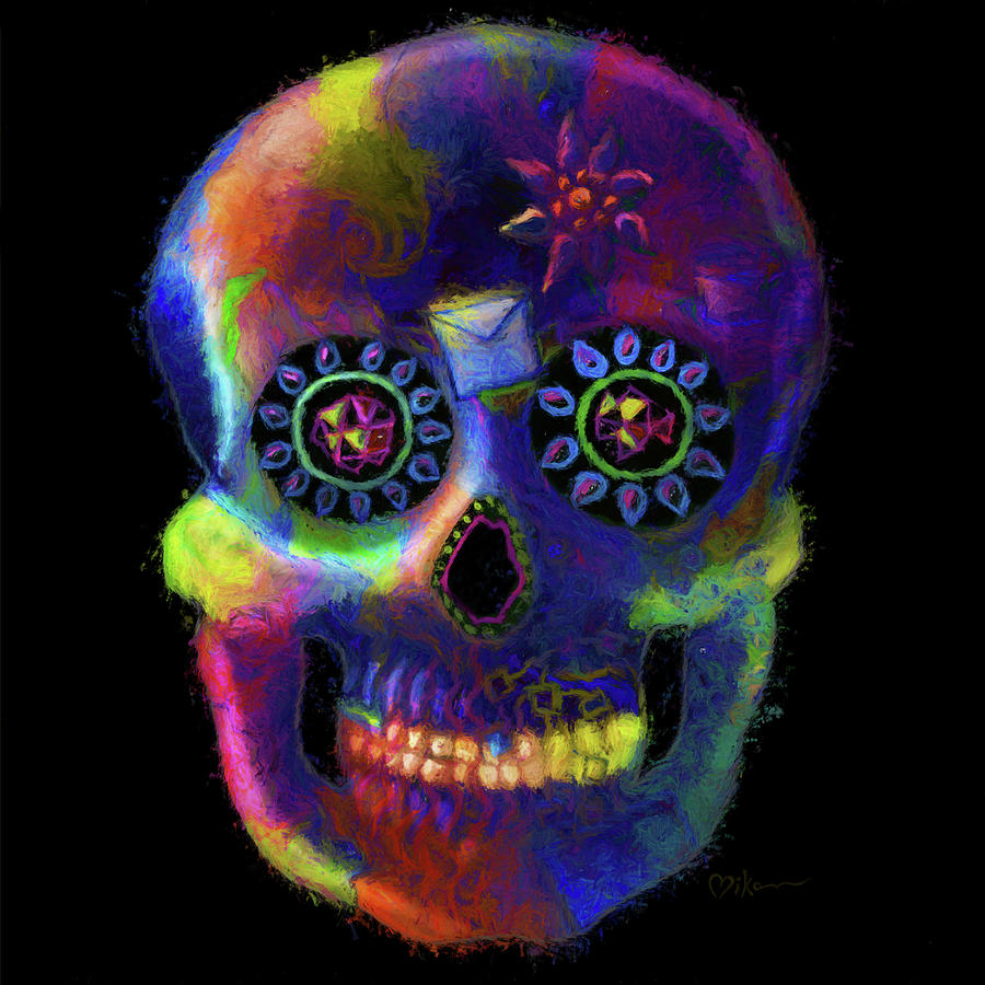 Day Of The Dead Painting - Mystico Sugarskull Of Letters by Miko Zen