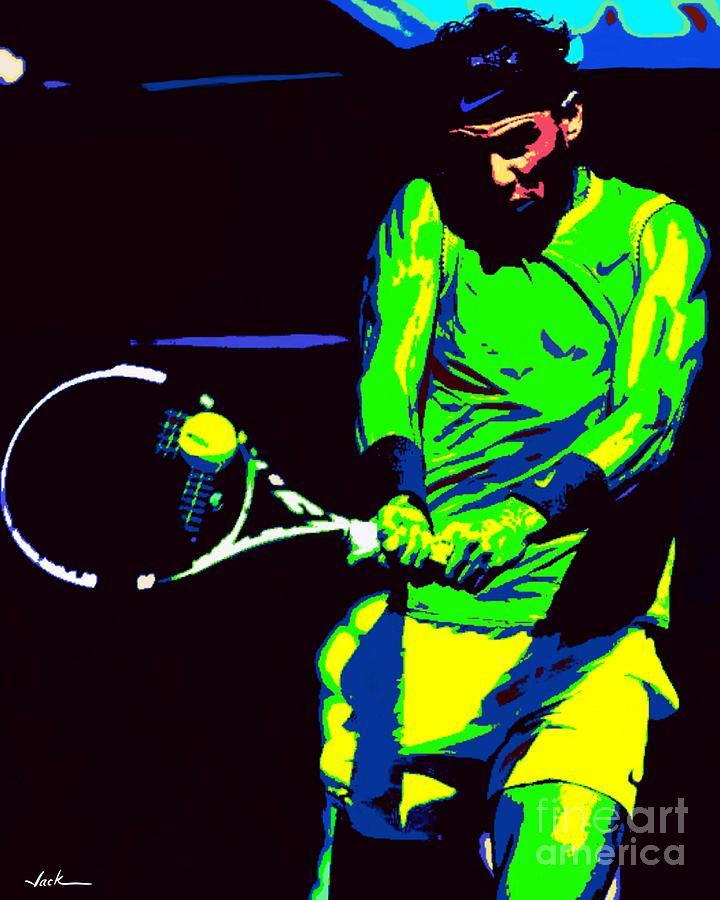 Rafael Nadal Painting - Nadal Backhand by Jack Bunds