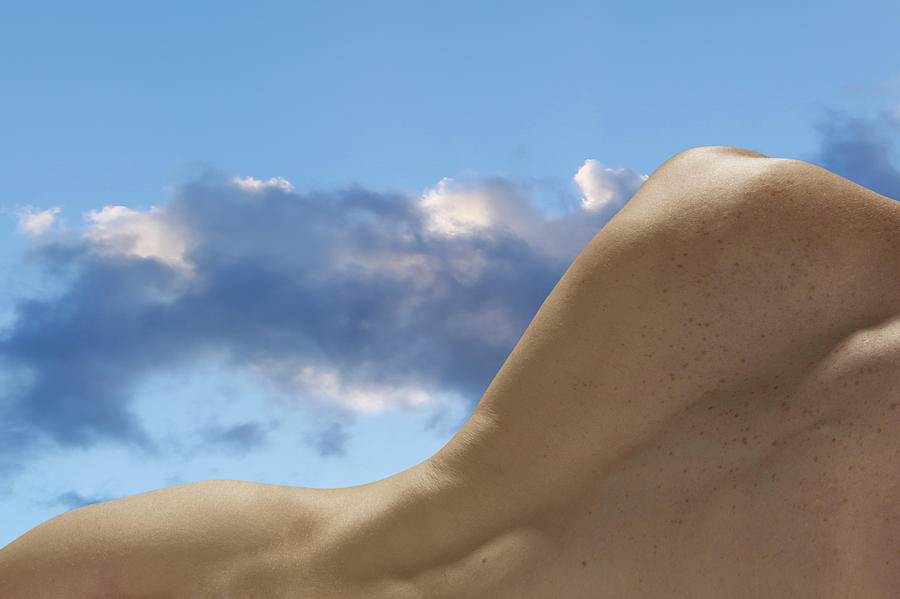 Naked Male Back Against Cloudy Sky Photograph by Jonathan Knowles