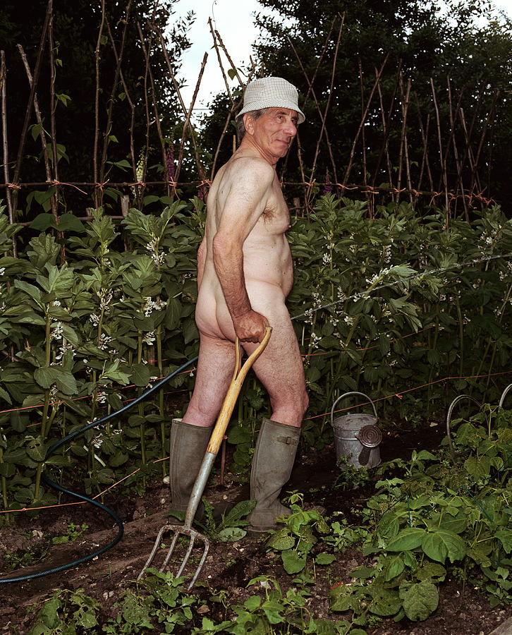 Naked Mature Man Gardening In Hat And Photograph by Chris Craymer