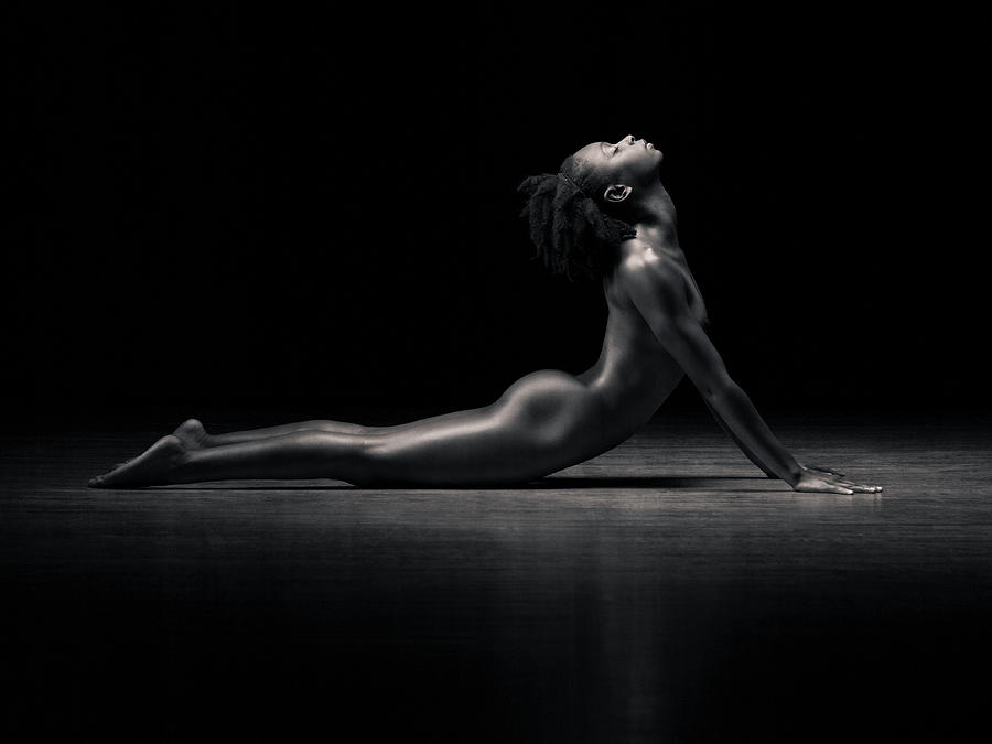 Naked Woman Performing Cobra Pose B&w Photograph by Mike Powell