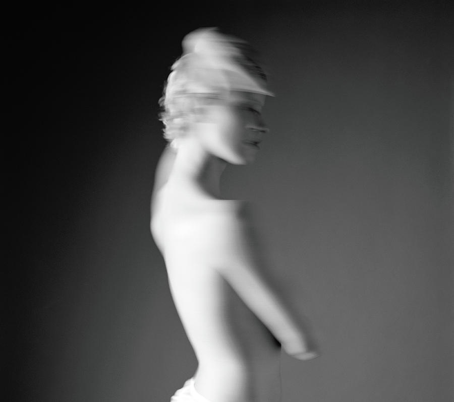 Naked Young Woman Blurred Motion, B&w Photograph by Blaise Hayward