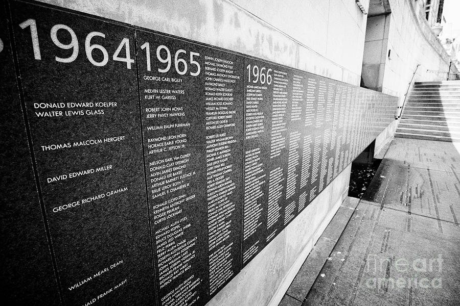 Chicago Photograph - names on the vietnam veterans memorial Chicago IL USA by Joe Fox