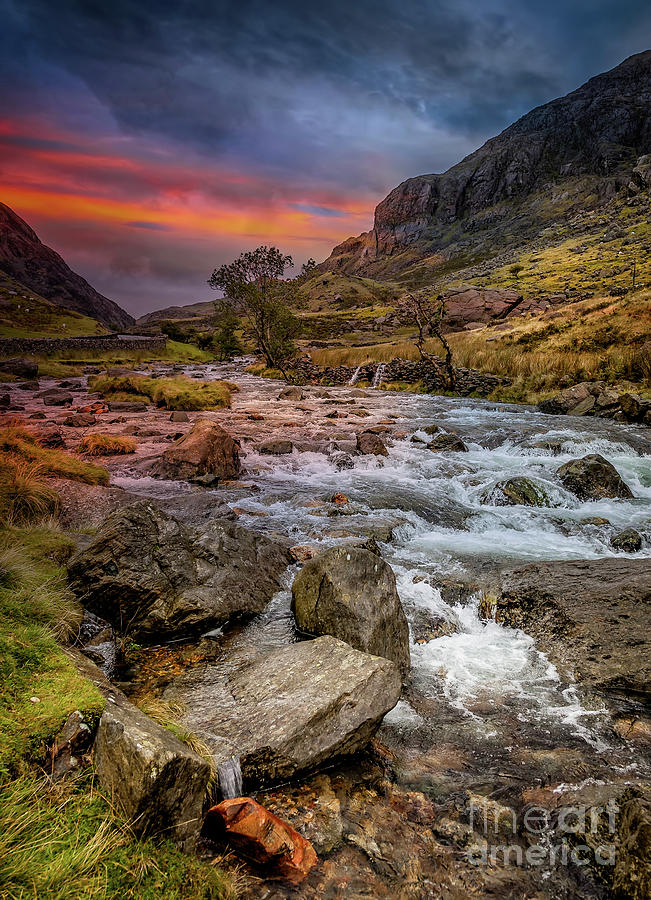 Nant Peris Pass Sunset by Adrian Evans