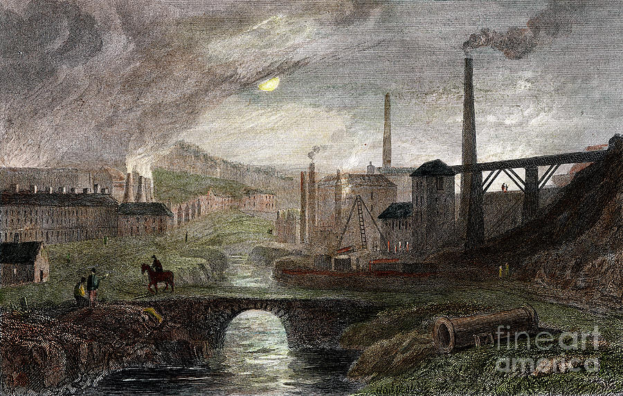 Nant-y-glow Iron Works, Monmouthshire Drawing by Print Collector