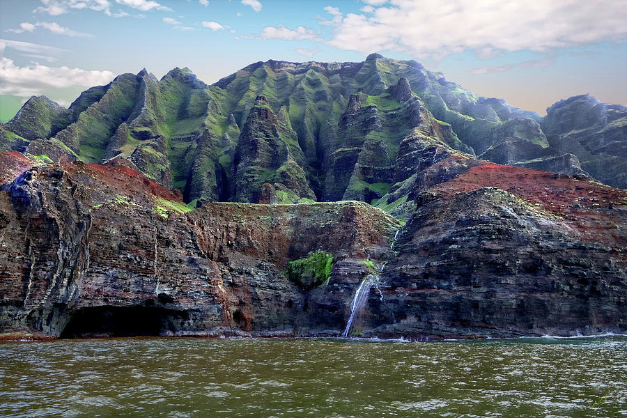 Napali Photograph - Napali Cave And Waterfall by Rick Lawler