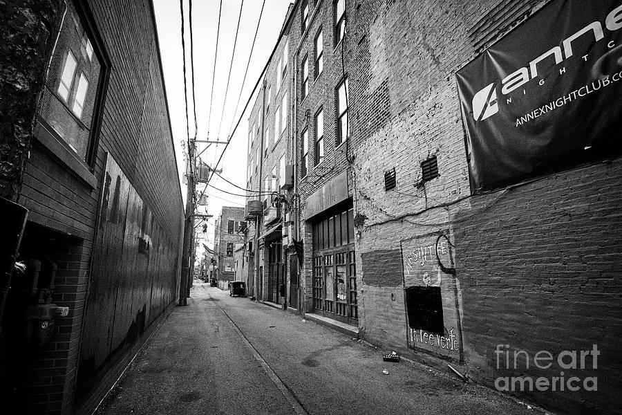 Chicago Photograph - narrow alleyway behind stores in the wicker park neighborhood of Chicago IL USA by Joe Fox