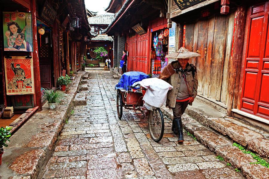 Narrow Streets Of Old Town With Naxi Photograph by John W Banagan