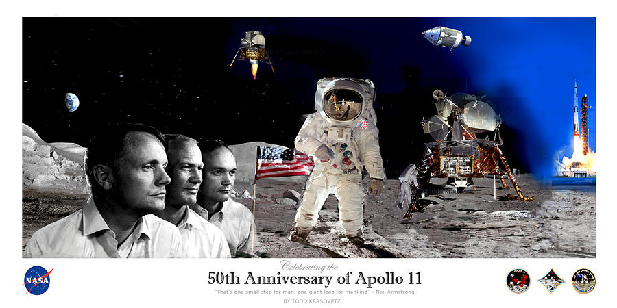 Nasa Painting - Nasa 50th Anniversary Of The Apollo 11 Lunar Landing By Artist Todd Krasovetz by Todd Krasovetz