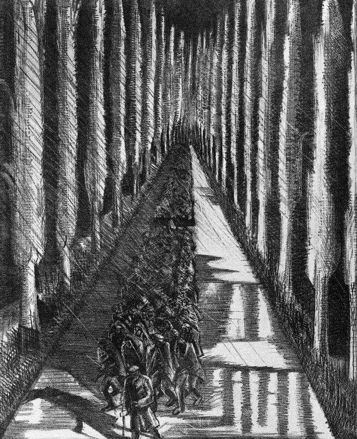 1918 Drawing - Men Marching At Night, 1918 by Paul Nash