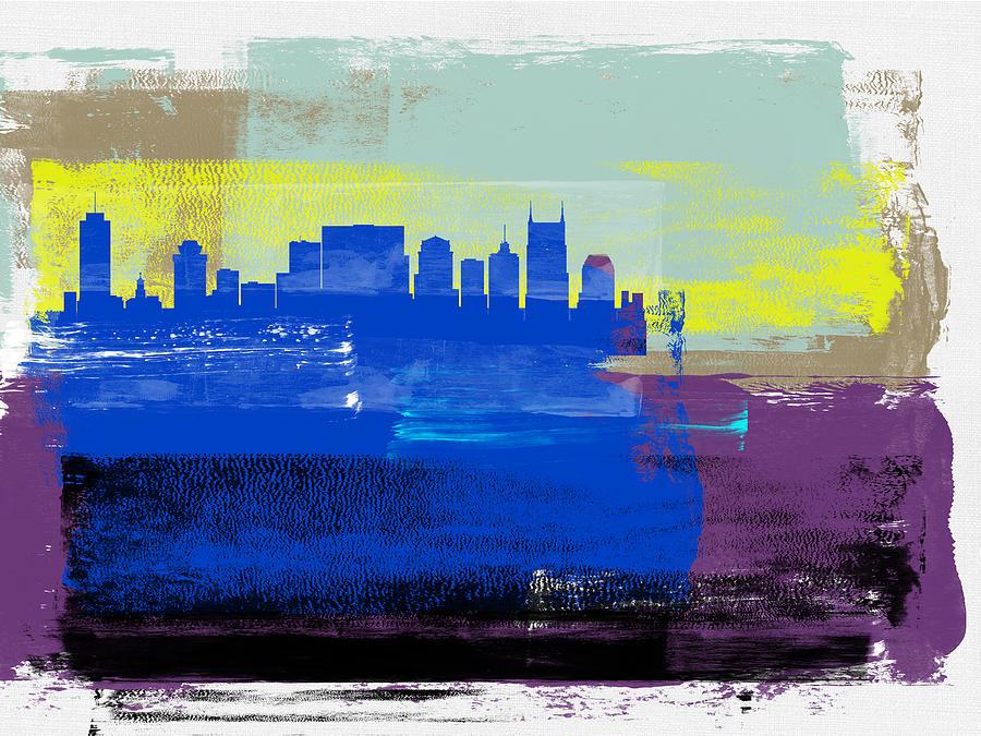Nashville Mixed Media - Nashville Abstract Skyline II by Naxart Studio