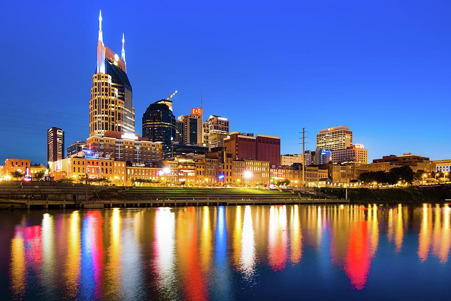 Nashville Blue Hour Skyline - Cumberland River Tennessee Art Photograph