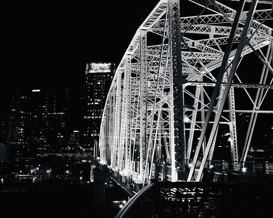 Nashville Pedestrian Bridge in Monchrome by JACK RIORDAN