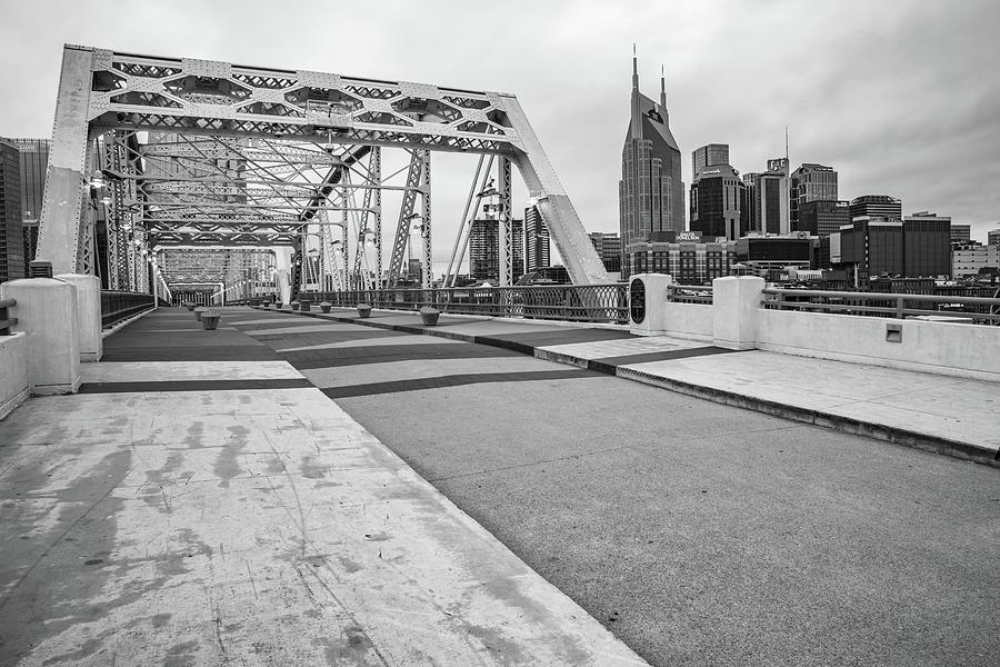 Nashville Skyline And Pedestrian Bridge - Monochrome Photograph