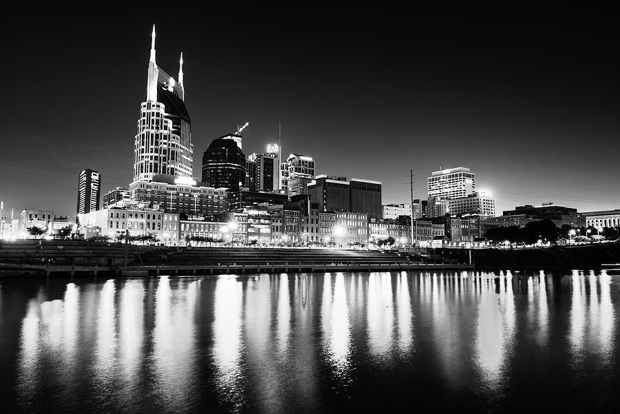 Nashville Skyline Dark Monochrome Photograph