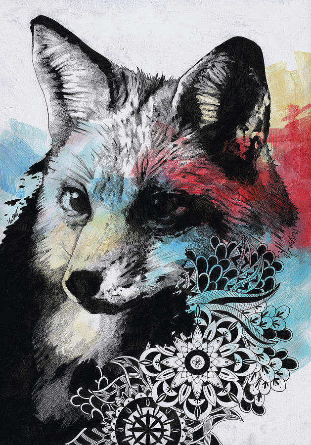 Mandala Drawing - Nasty Nasty - Street Art Mandala Fox Portrait by Marco Paludet
