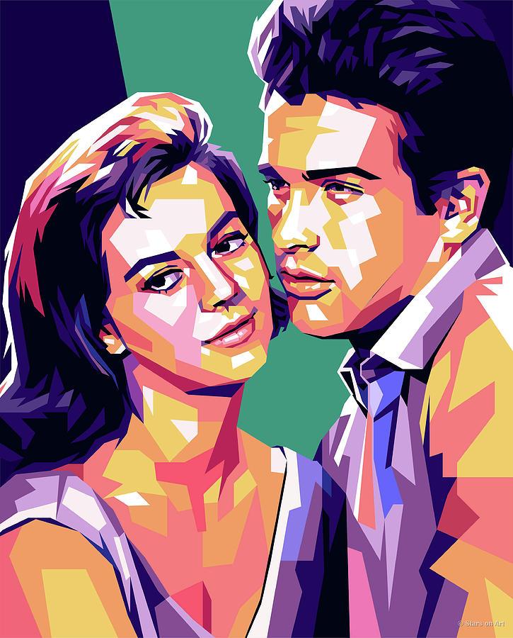 Natalie Digital Art - Natalie Wood And Warren Beatty Pop Art by Stars on Art