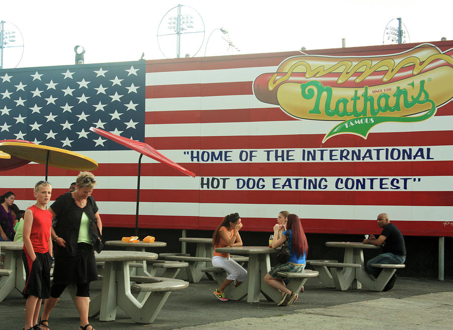 Nathan's Famous Hot Dog Stand in Coney Island #1 by Ann Murphy