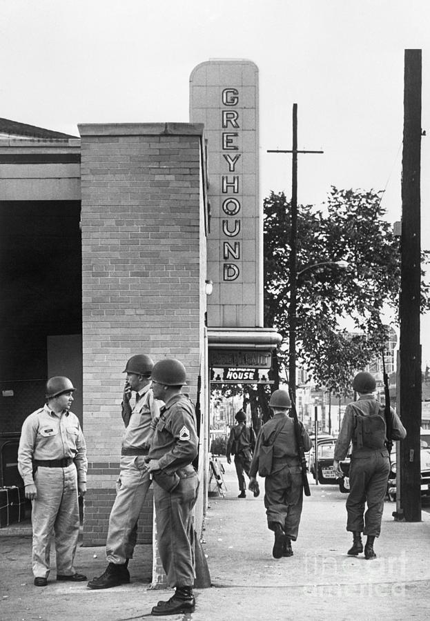 National Guardsmen Patrolling In Alabama Photograph by Bettmann