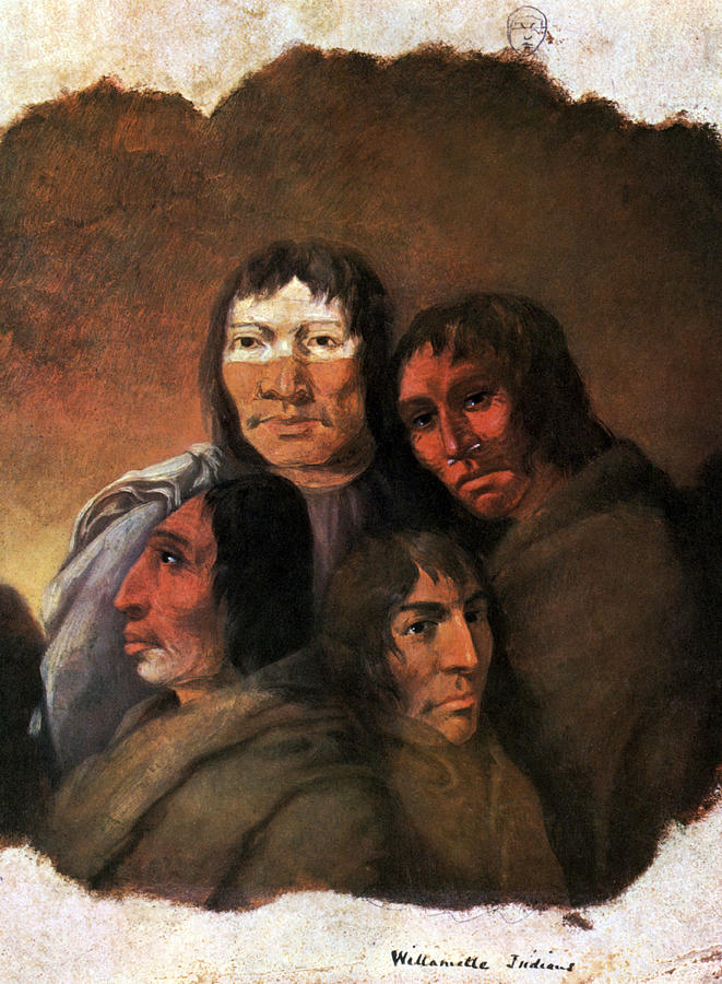 19th Century Painting - Native American Clackamas Indians by Science Source