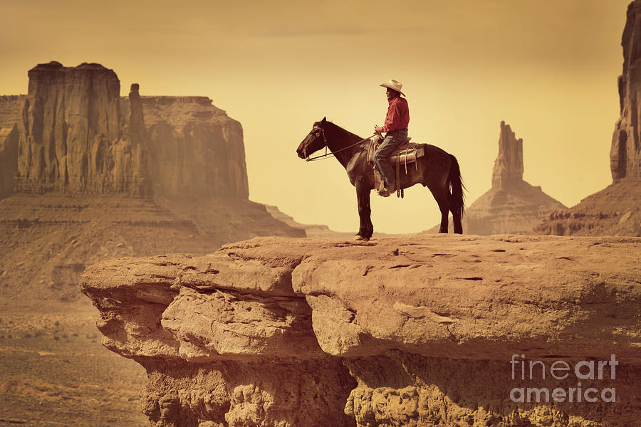 Native American Indian Cowboy On Horse Photograph by Yinyang