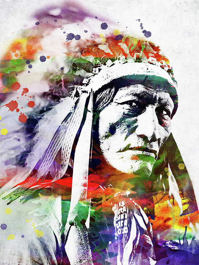 Native American Indian Watercolor 5 Digital Art by Mihaela ...