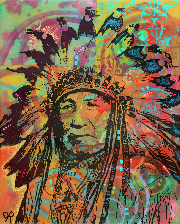 Indian Mixed Media - Native American V by Dean Russo